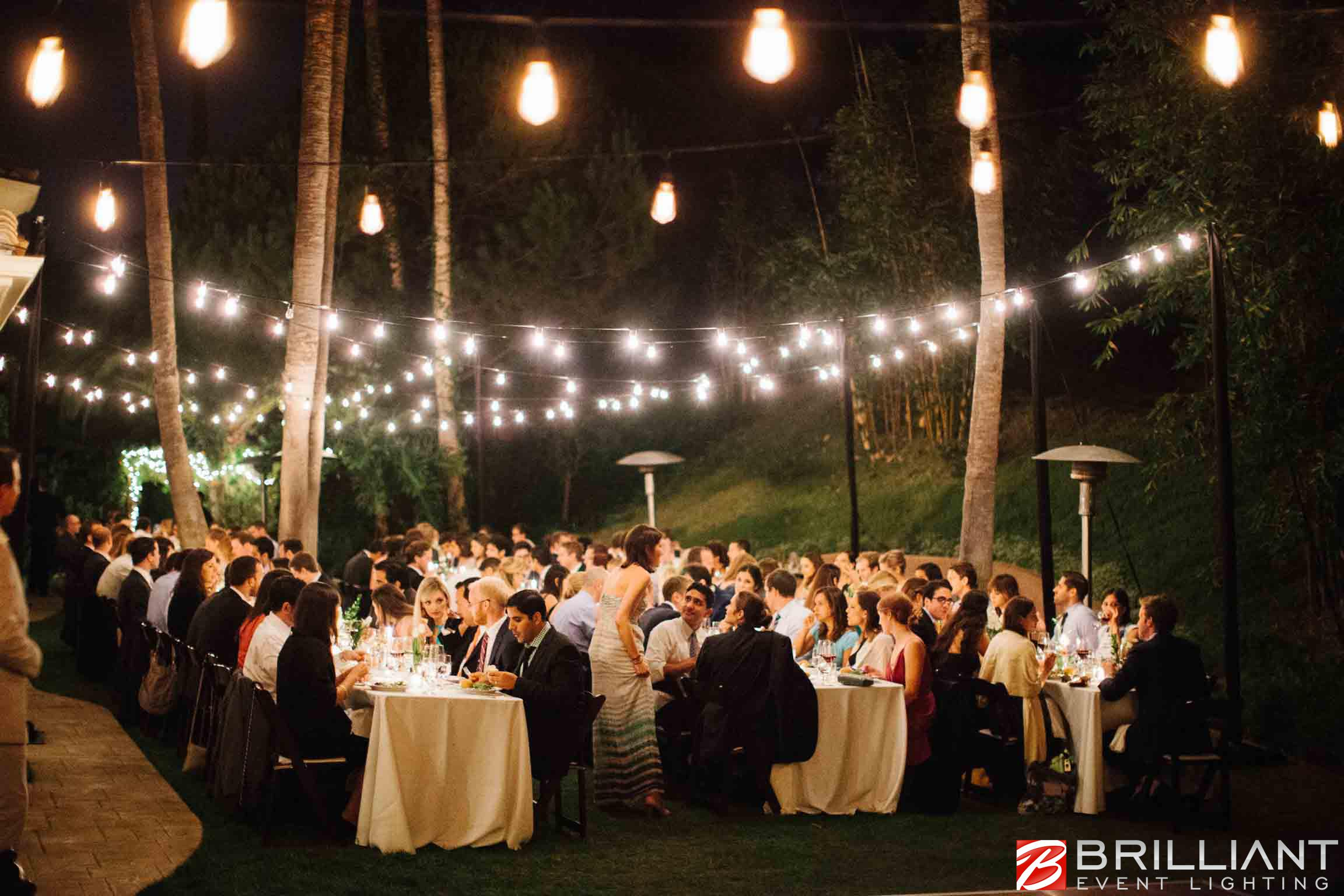 Market Lights And Vintage Edison String Lights At Outdoor Wedding 2 Romantic Italian Weddings
